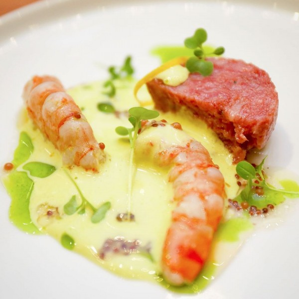 Combination of Shrimp & Cotechino with Avocado Sabayon, Italian parsley water & mustard