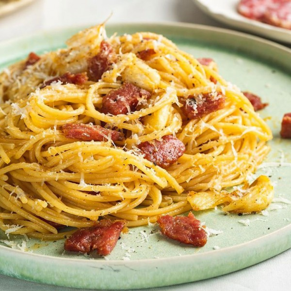 Spaghetti with Salame Cacciatore with spicy oil & Pecorino Romano
