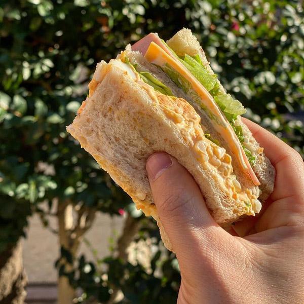 Sandwiches with cheese and original Mortadella Bologna IGP